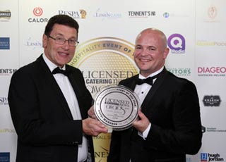 Neil Devlin accepting the Hotel Manager of the Year prize at the LCN Awards June 2018